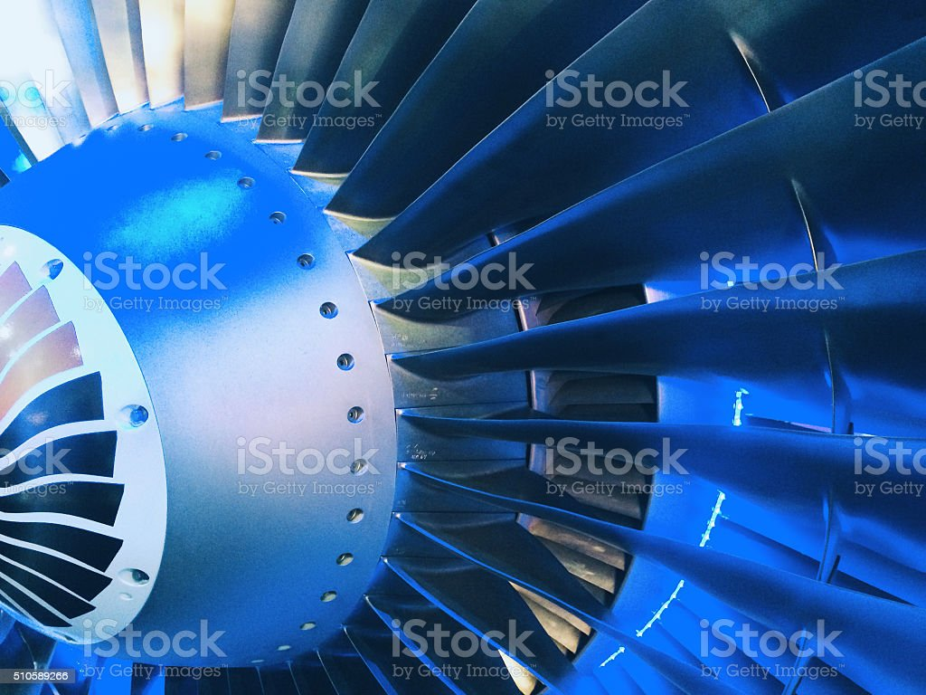 Jet engine turbine intake stock photo