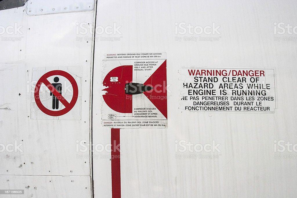 Jet Engine Warning Sign stock photo