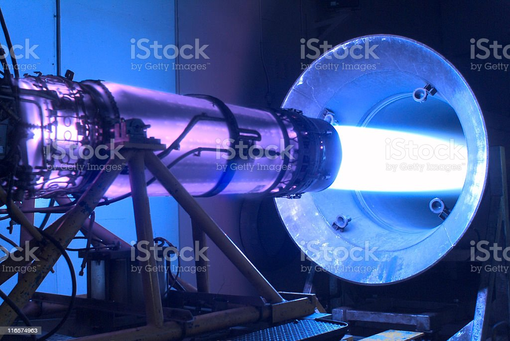 Jet engine with afterburner stock photo