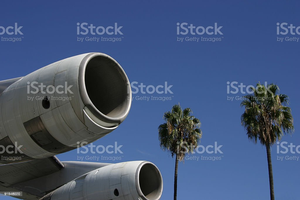 Jet Engines and Palms 1 stock photo