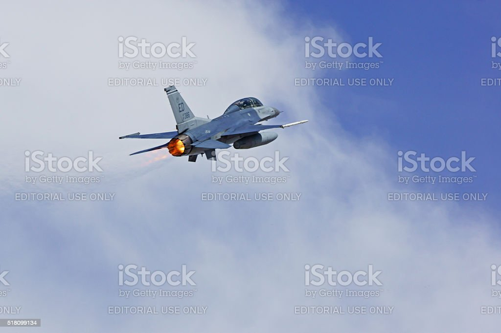 Jet F-16 fighter flying at Los Angeles air show stock photo