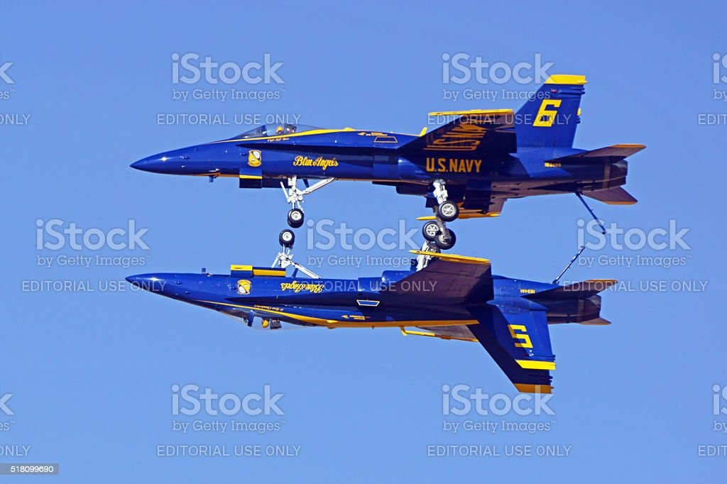 Jet F-18 Blue Angels airplanes stock photo