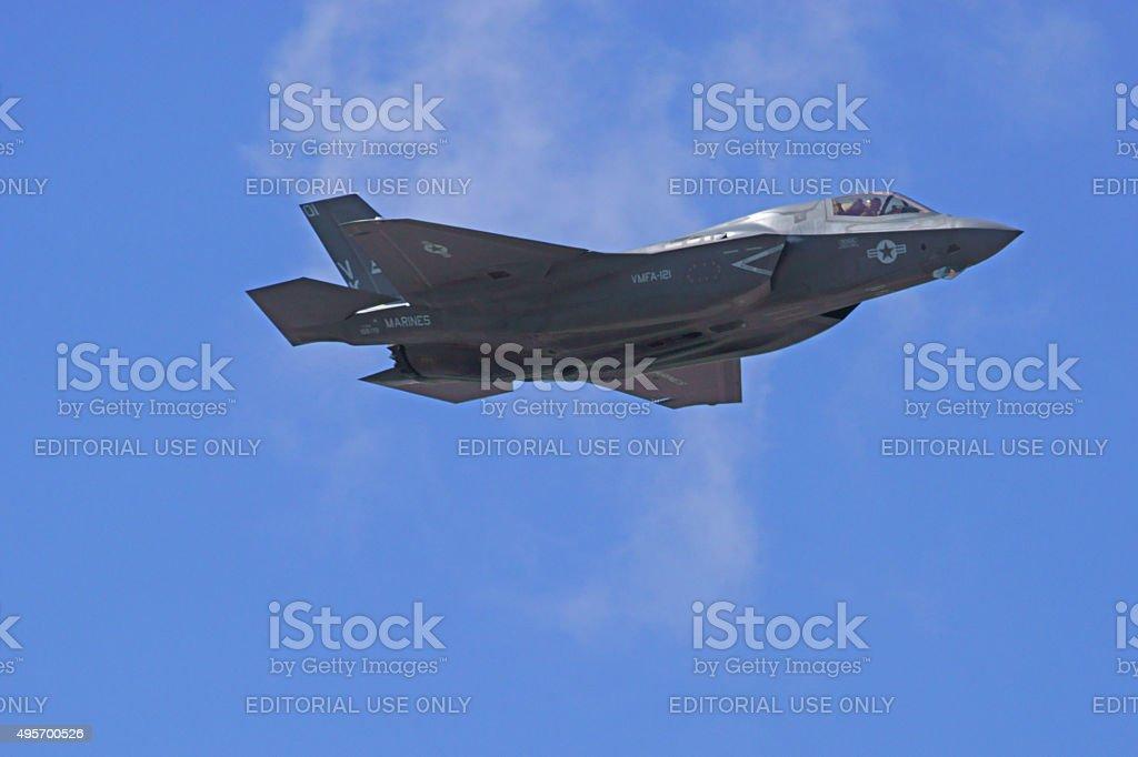 Jet F-35 Lightning stealth airplane stock photo