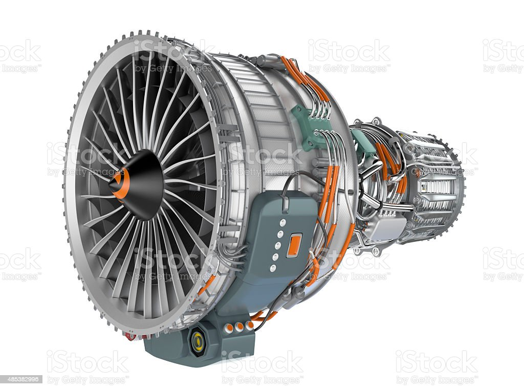Jet fan engine isolated on white background. Clipping path available. stock photo