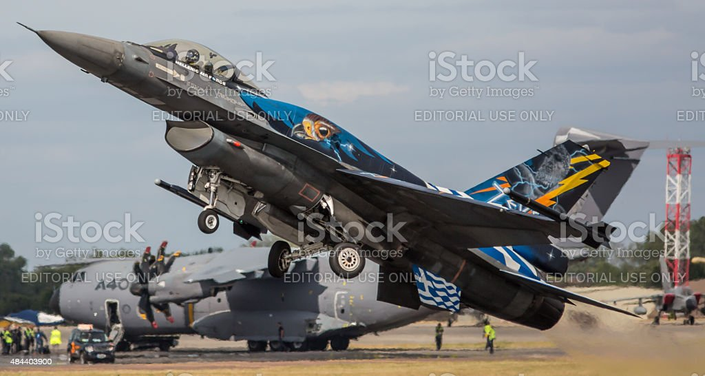 F-16 jet fighter aircraft, Greek Air Force stock photo