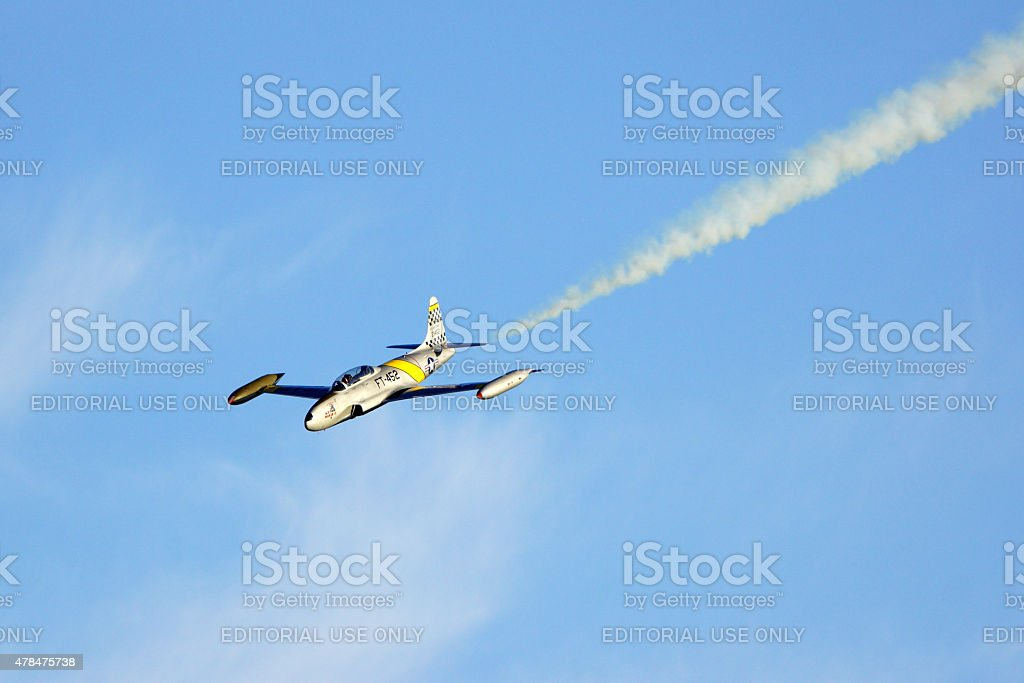 Jet Fighter Airplane flying at Air Show stock photo