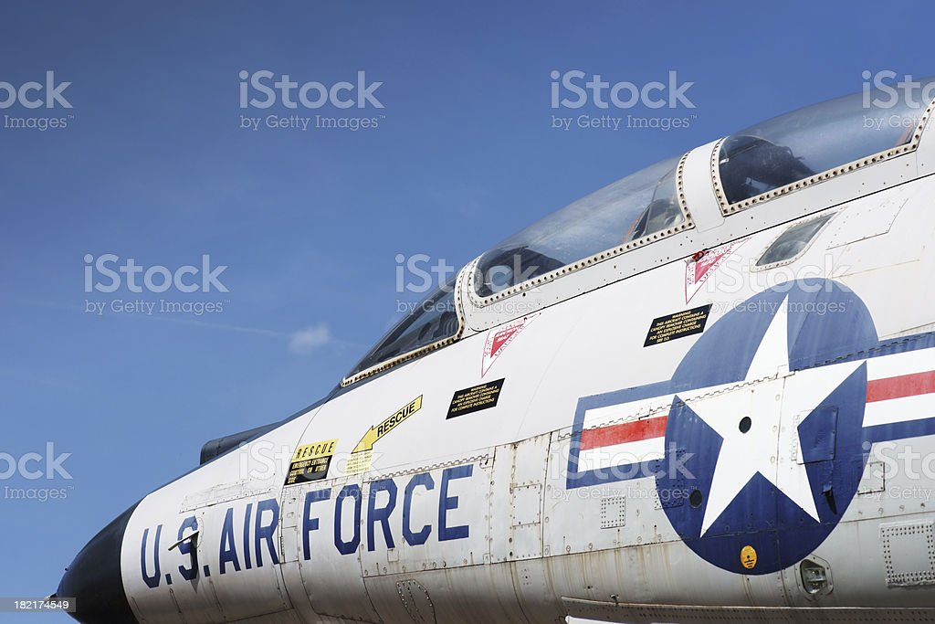 Jet fighter cockpit against sky stock photo