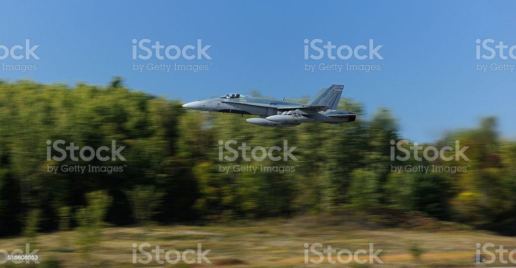 F-18 Jet Fighter In Low Altitude Flight stock photo