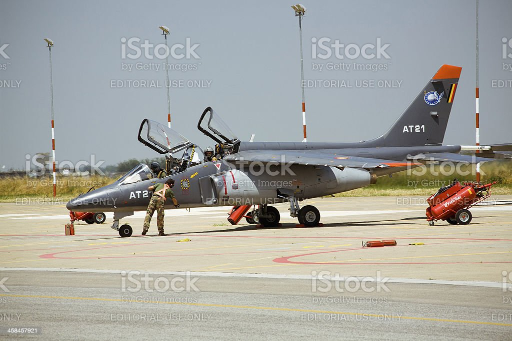 Jet fighter parked on the runway royalty-free stock photo