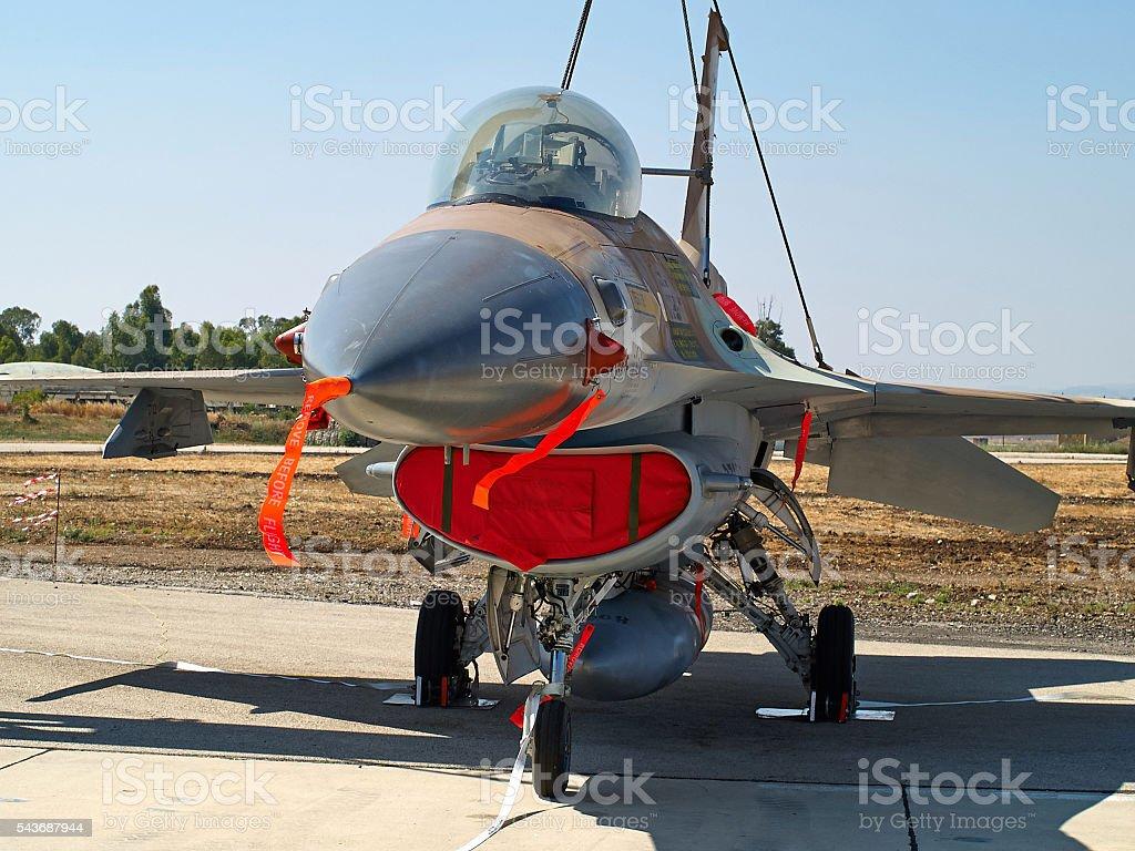 F-16 jet fighter plane stock photo