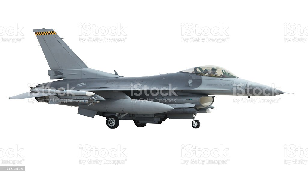 Jet Fighter Taxiing on Runway Before Takeoff with Clipping Path stock photo