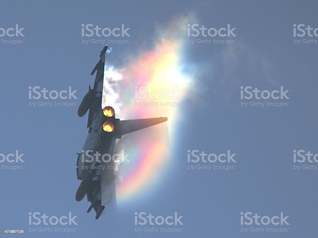 Jet fighter trails a rainbow stock photo