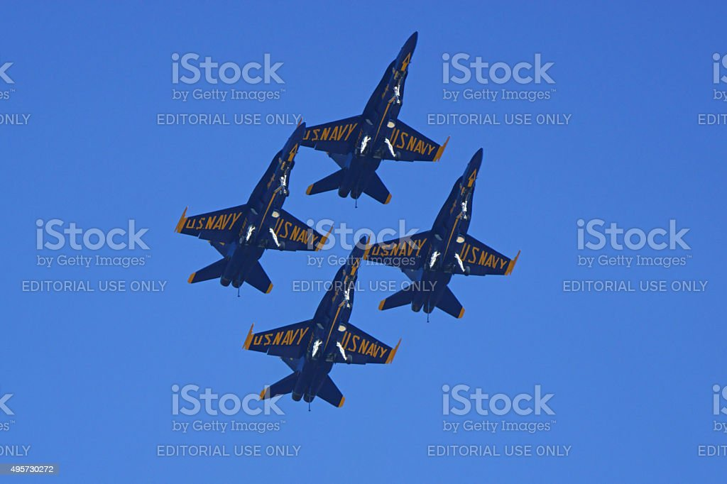 Jet fighters Blue Angels F-18 Hornets flying stock photo
