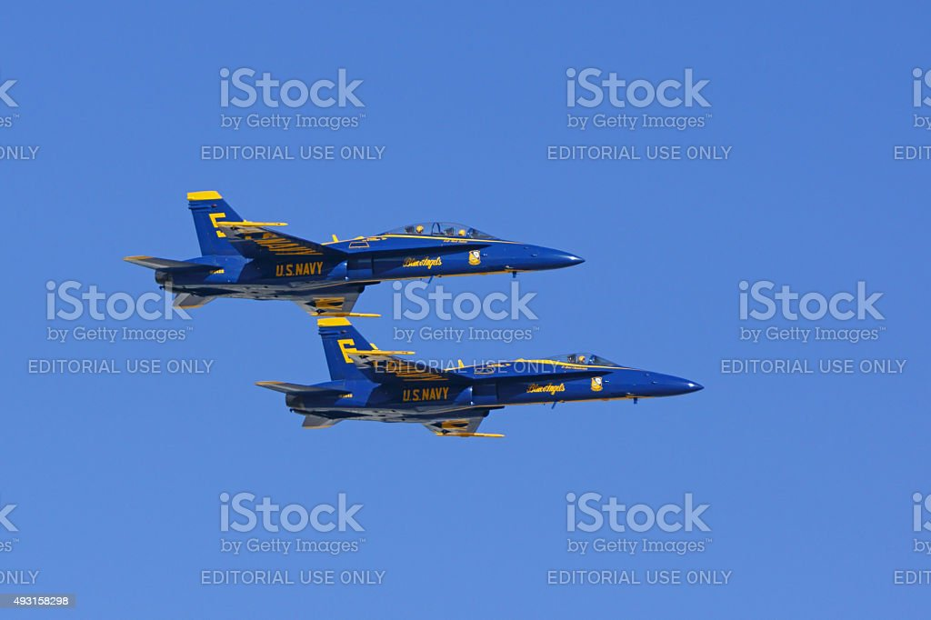 Jet fighters Blue Angels F-18 Hornets stock photo