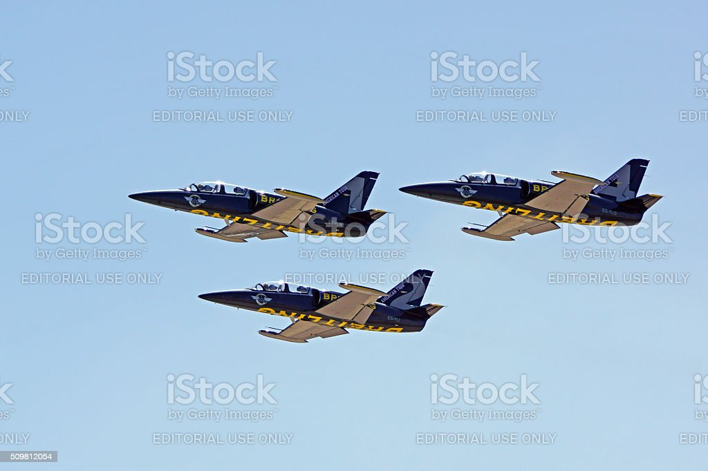 Jet fighters flying in formation at 2015 Air Show stock photo