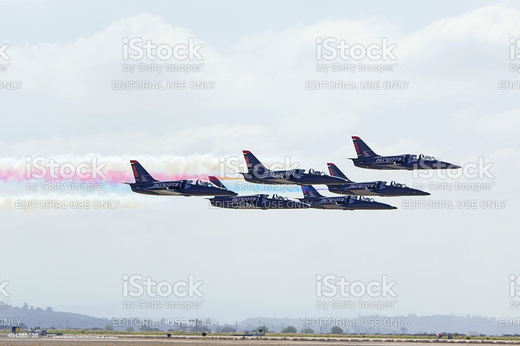 Jet fighters flying in tight formation stock photo