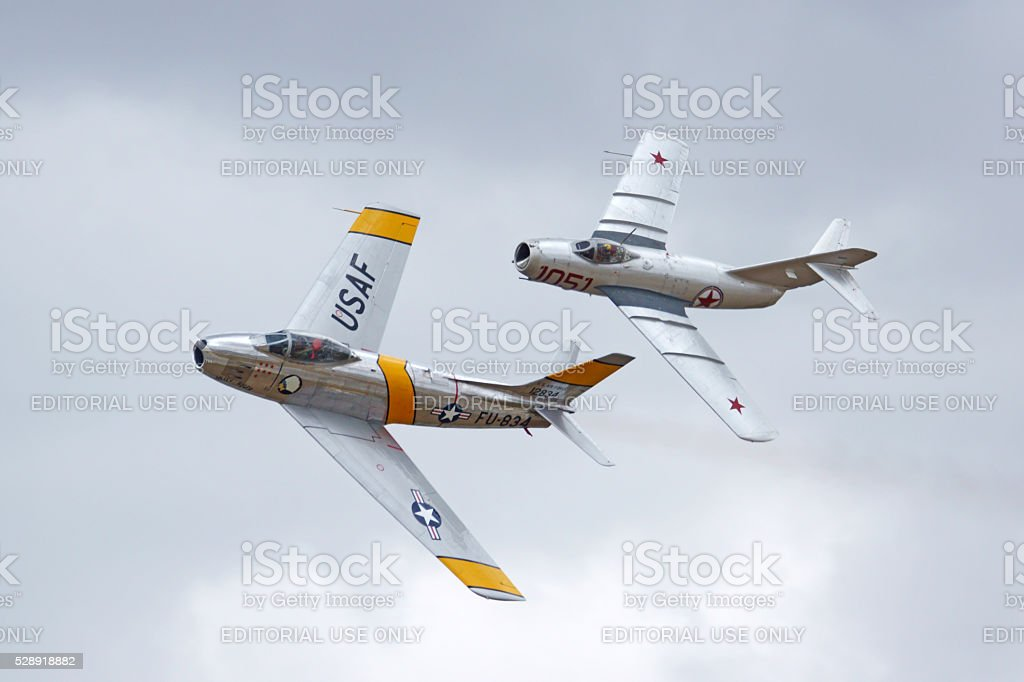 Jet fighters including vintage MIG from Korean War stock photo