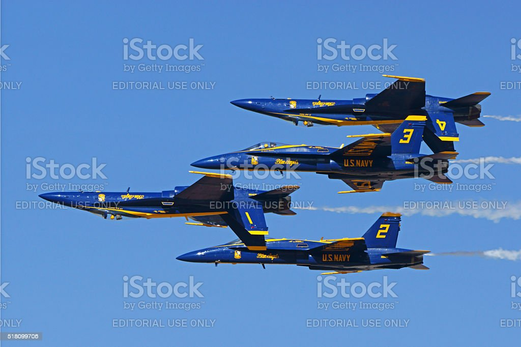 Jet fighters of the Blue Angels stock photo