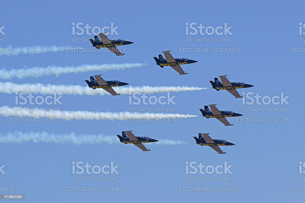 Jet flight team flying at air show stock photo