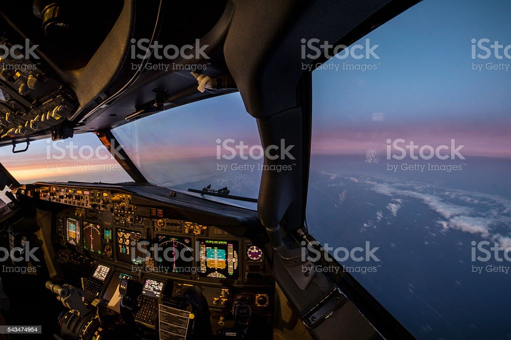 Jet flightdeck sunset view stock photo
