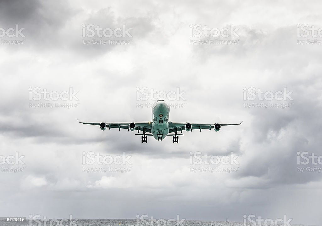 Jet in Flight stock photo