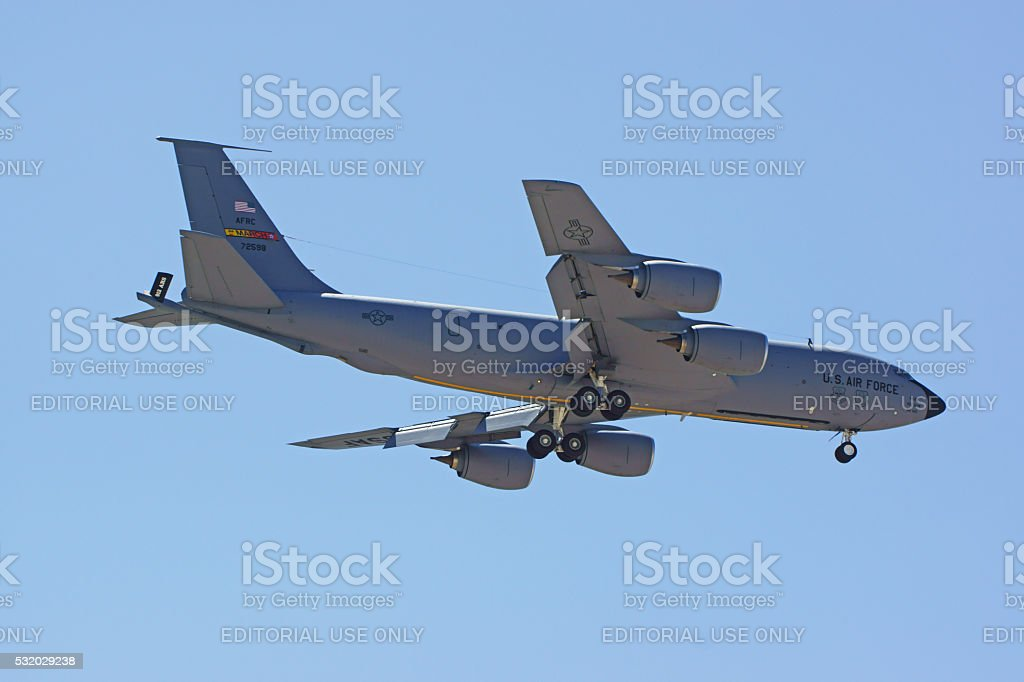 Jet military KC-135 Stratotanker flying stock photo