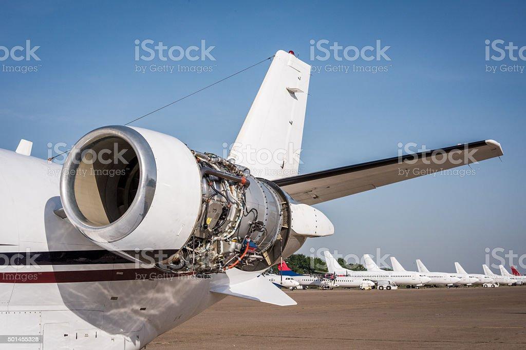 Jet motor of private aeroplane stock photo