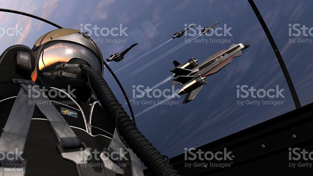jet pilot flight with squadron stock photo