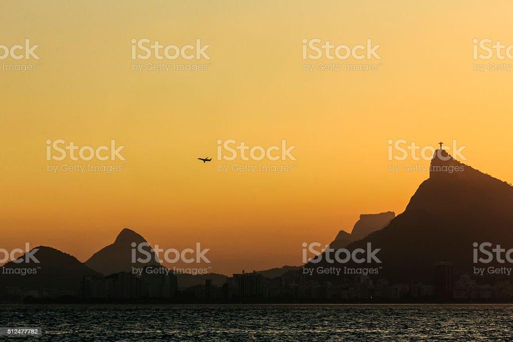 Jet Plane Taking Off at Rio de Janeiro stock photo
