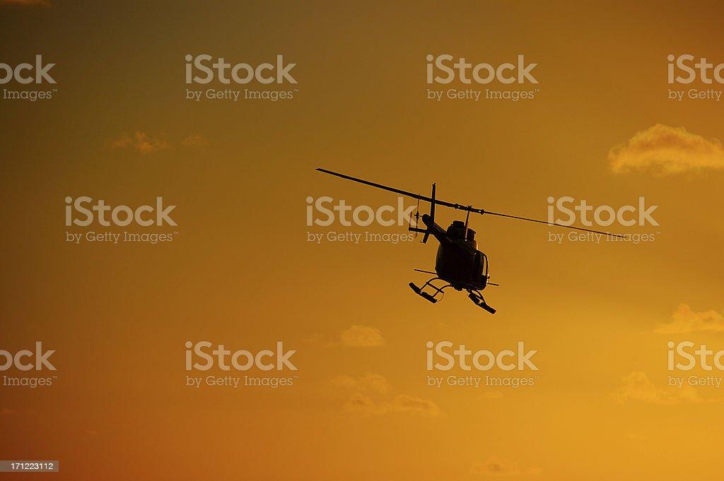 Jet Ranger Sunset Gold stock photo