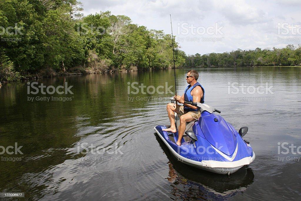 Jet Ski Fishing royalty-free stock photo