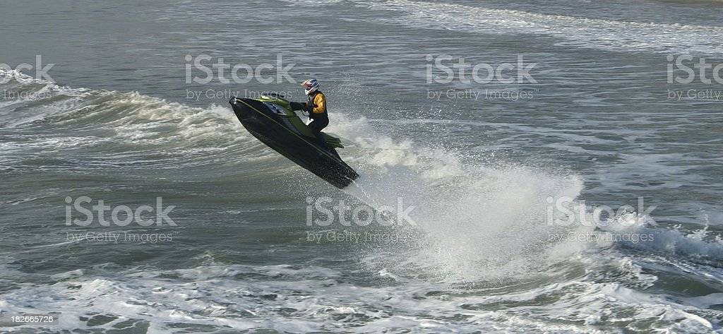 Jet Ski Jumping the Waves 2 royalty-free stock photo