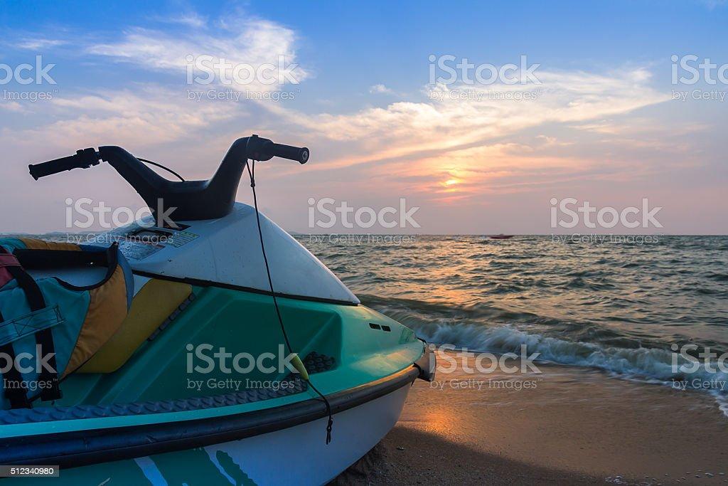 Jet ski on  beach stock photo
