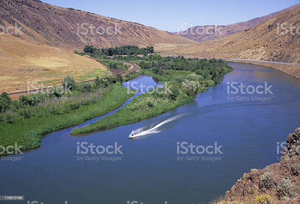 Jet skier on Yakima River stock photo