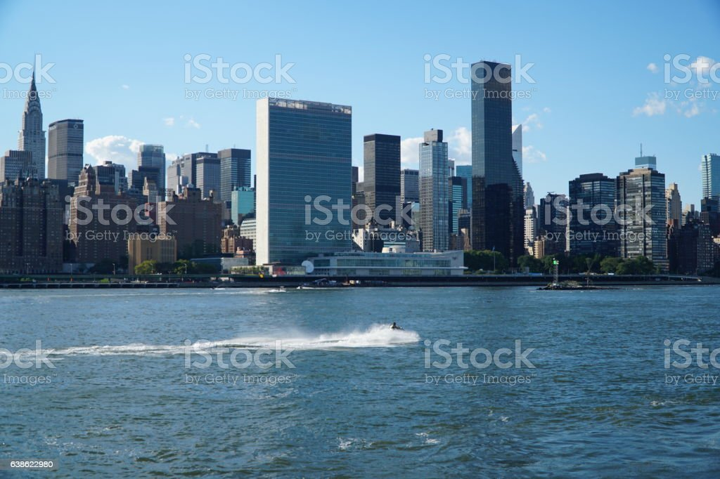 Jet skiing in front of UN Headquarters stock photo