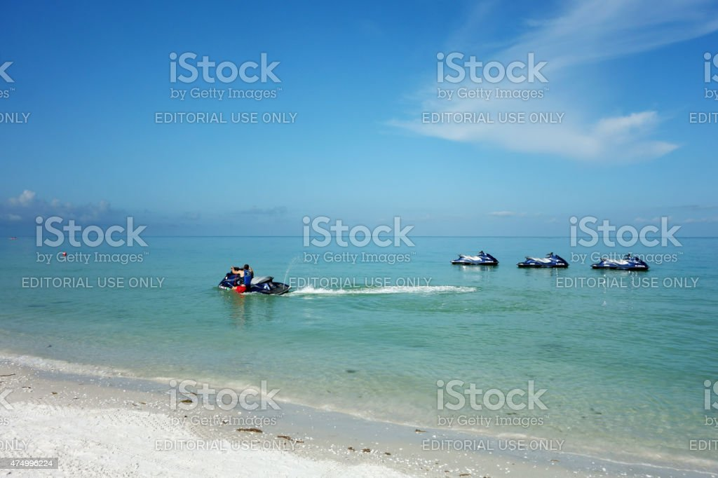 Jet skis on a Florida beach on Gulf of Mexico stock photo