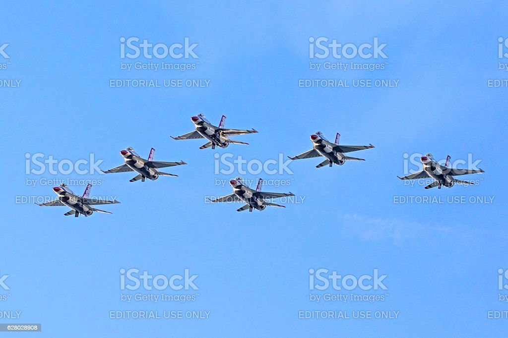 Jet Thunderbirds F-16 fighters in formation stock photo