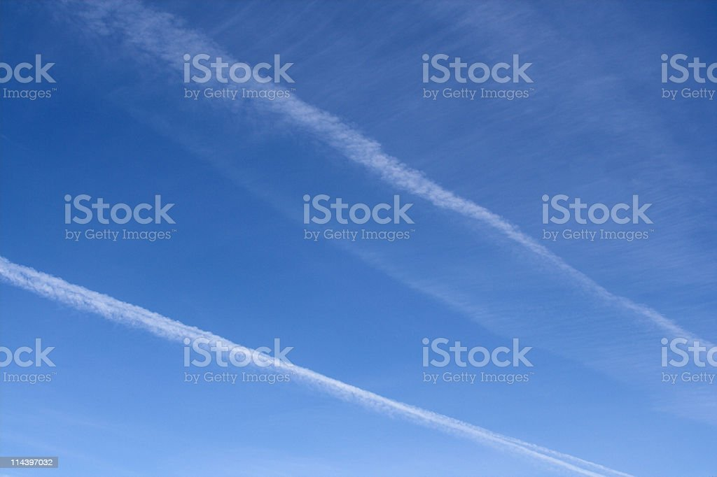 Jet Trail Across Sky royalty-free stock photo