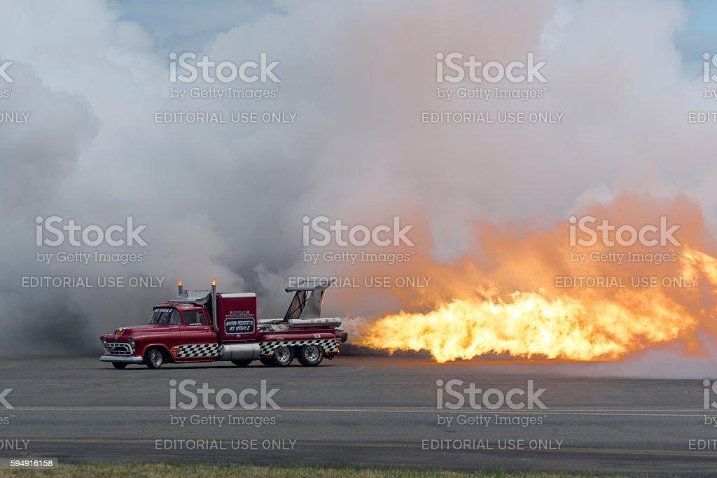 Jet Truck Flame Smoke 57' Chevy Air Show Hillsboro Oregon stock photo