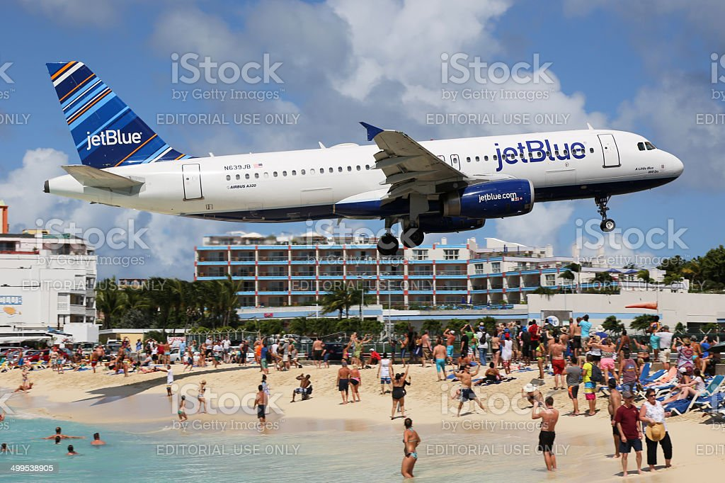 jetBlue Airbus A320 landing St. Maarten stock photo