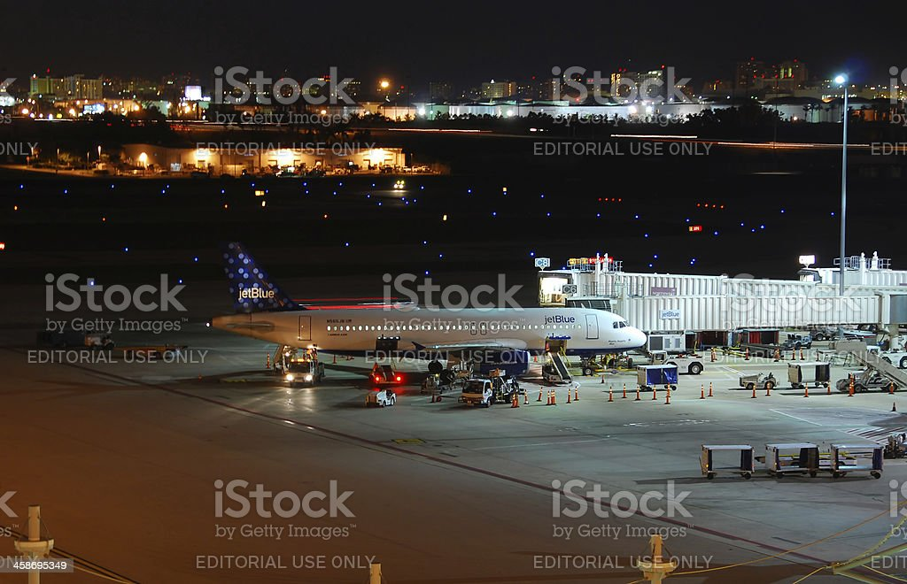 Jetblue passenger airplane at Fort Lauderdale airport royalty-free stock photo
