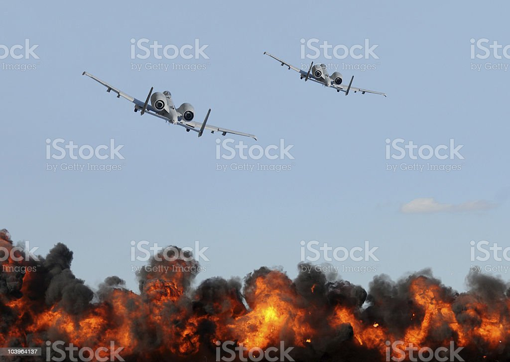 Jetfighter attack royalty-free stock photo