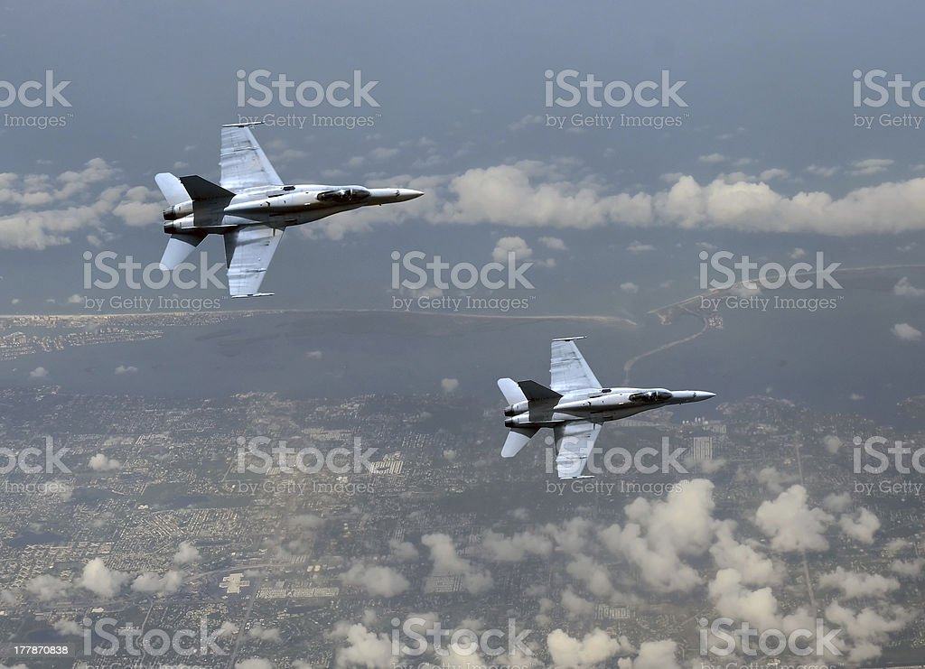 Jetfighters at high altitude royalty-free stock photo