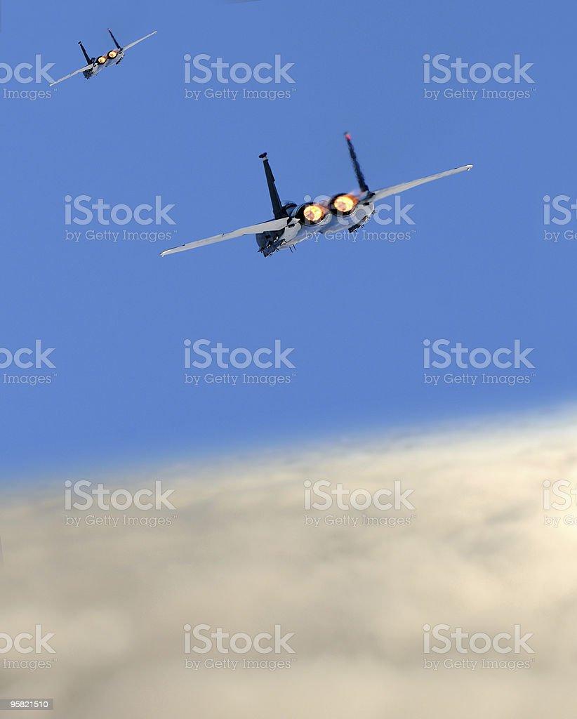 Jetfighters in flight stock photo