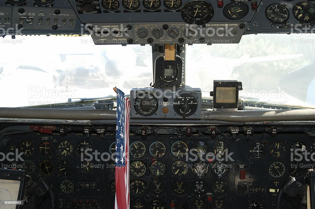 Jetliner Cockpit with American Flag stock photo