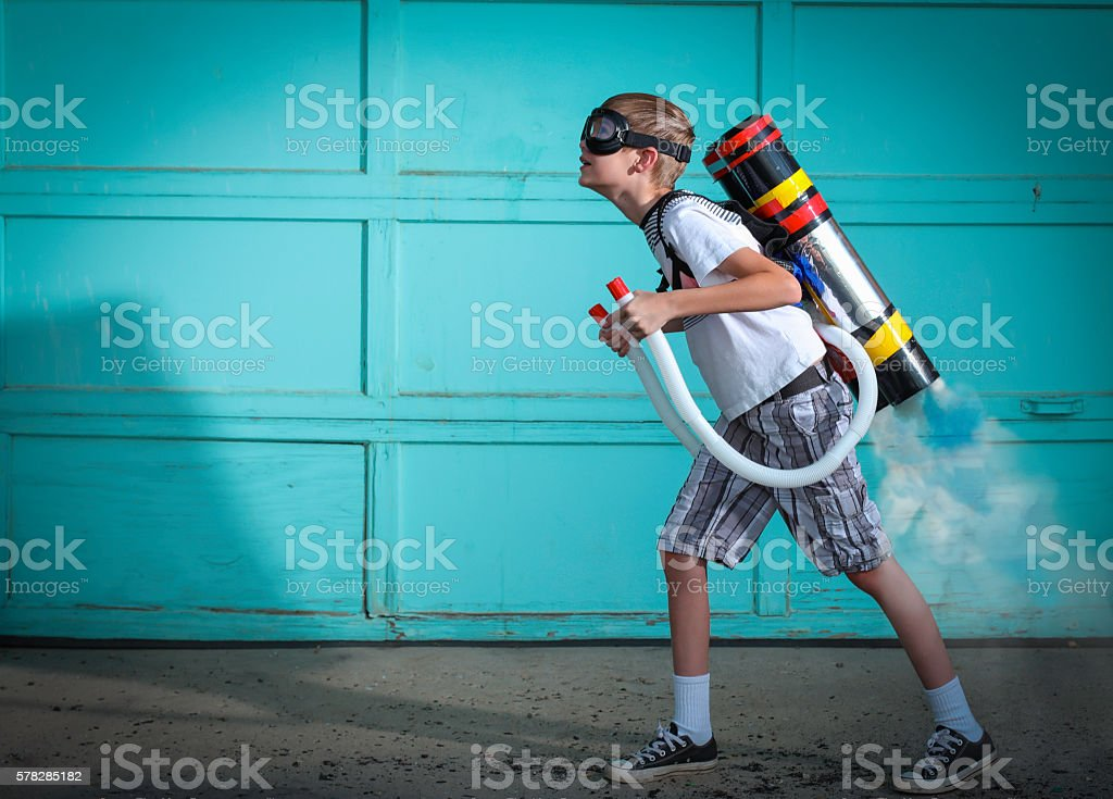 Jetpack Boy stock photo