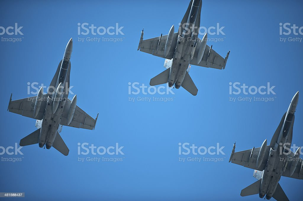 Jets flying over for Rememberance Day stock photo