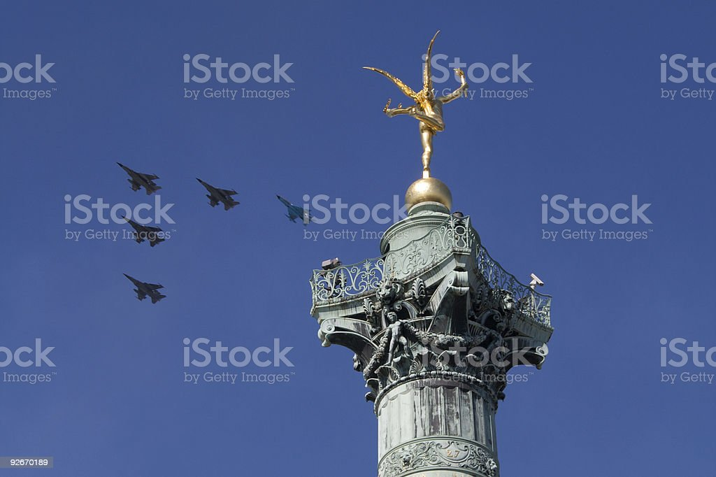 Jets in formation over Paris on July 14 (Bastille Day) royalty-free stock photo