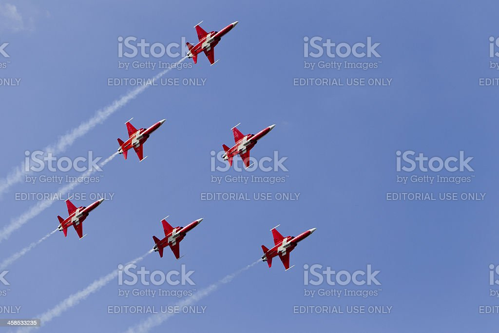 "6 Jets of the ""Patrouille Suisse"" royalty-free stock photo"