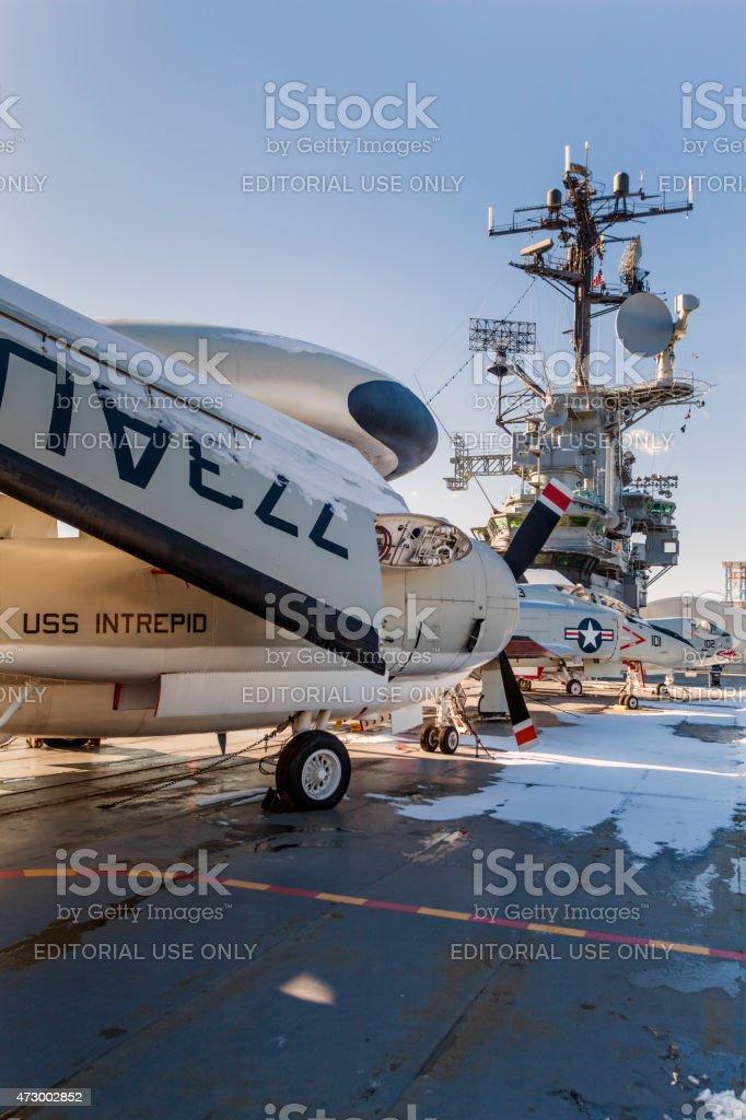 Jets on USS Intrepid stock photo